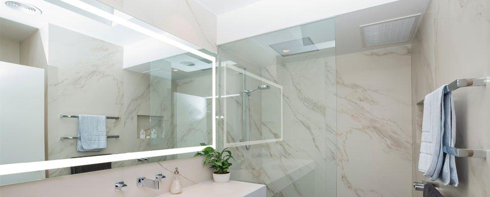 Lit mirror in a bathroom australia