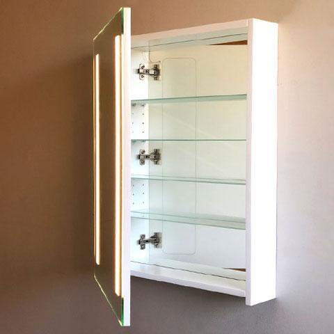 Front view door open of the Cabinet Bathroom Lighted Mirror