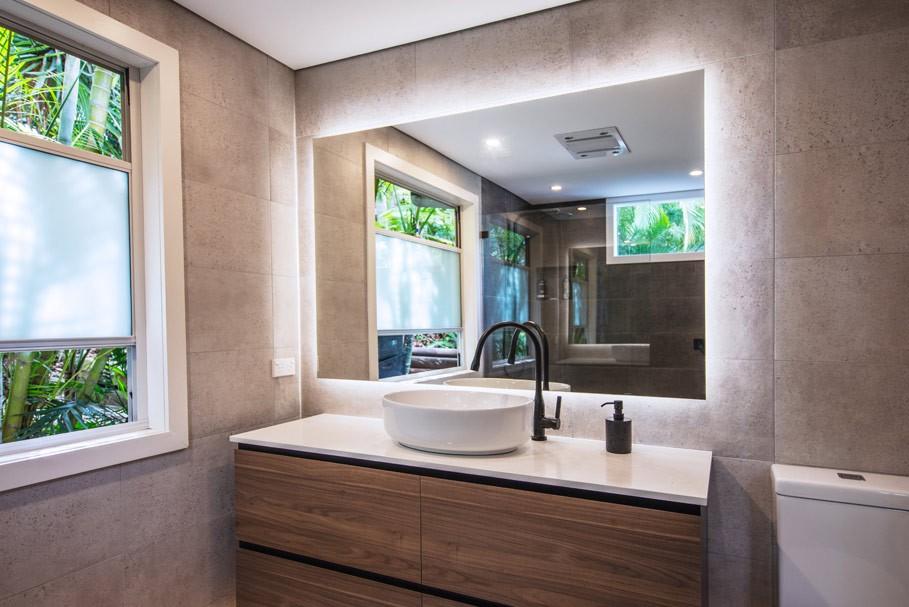 Backlit Mirror installed in a bathroom