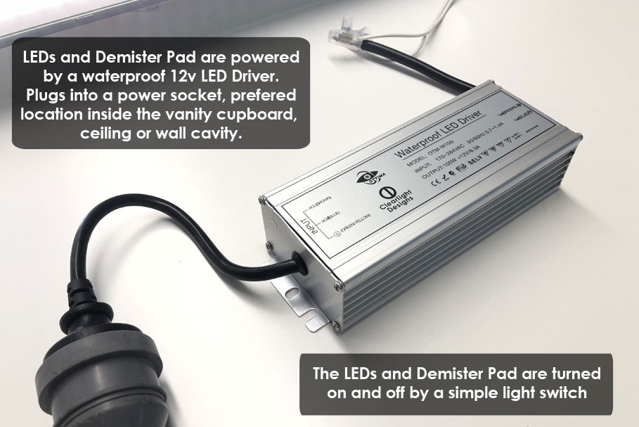 12 Volt Driver powers the LED Lights and Demister