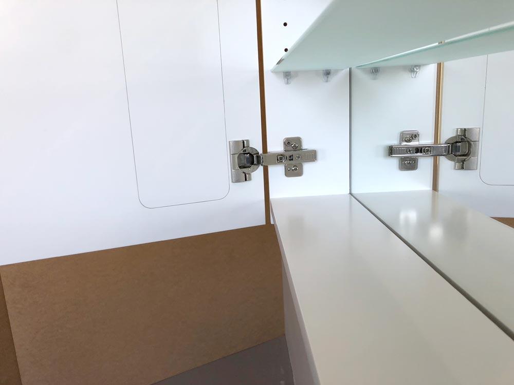 Cabinet Bathroom Lighted Mirror inside bottom shelf view