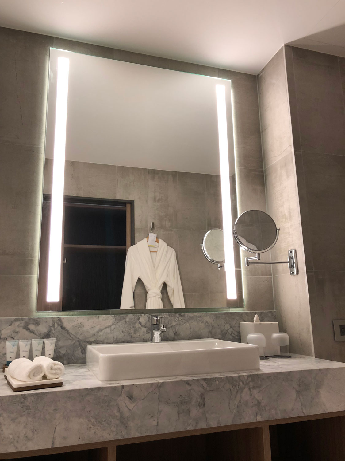 Our Eleven style illuminated LED mirror at a 5-star Hotel
